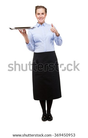Waitress holding tray over white background with smile, showing ok sign by thumb. - stock photo