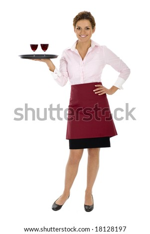 Waitress holding tray with wine glasses - stock photo