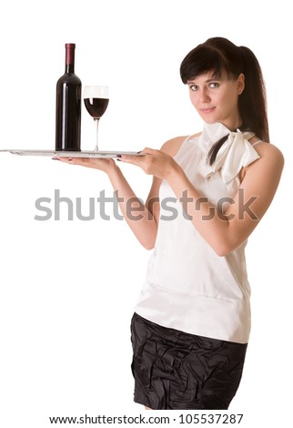 Waitress with bottle of wine and one glass on a tray, isolated on white background - stock photo