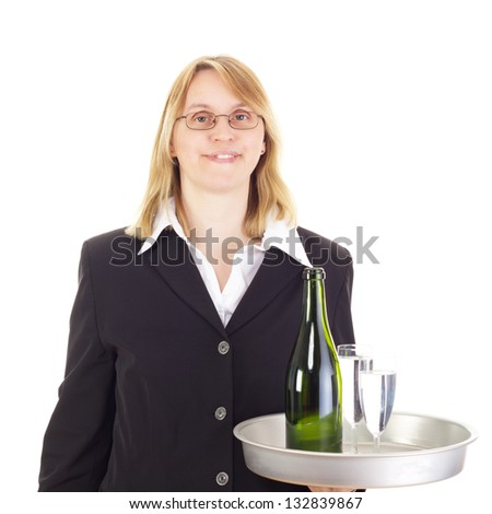 Waitress with dinner tray - stock photo