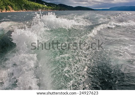 Wake of a ship - stock photo