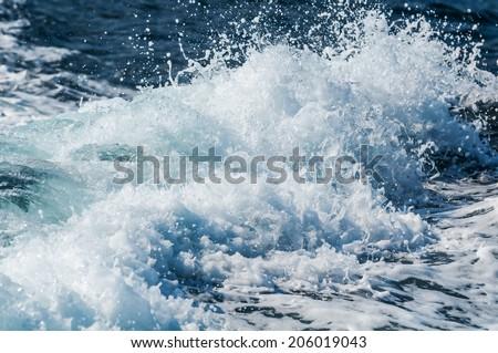 Wake of speed boat - stock photo