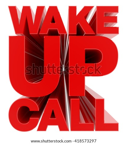 WAKE UP CALL word on white background illustration 3D rendering - stock photo