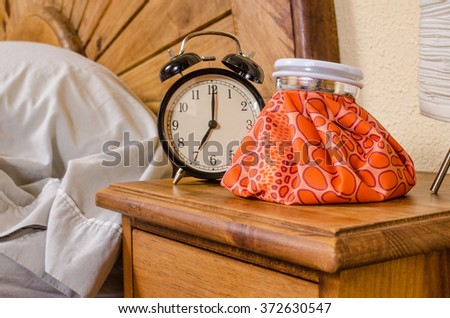 Waking up with a hangover, a party aftermath concept. - stock photo