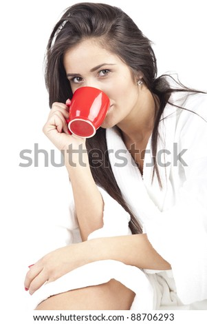 waking up with coffee - stock photo