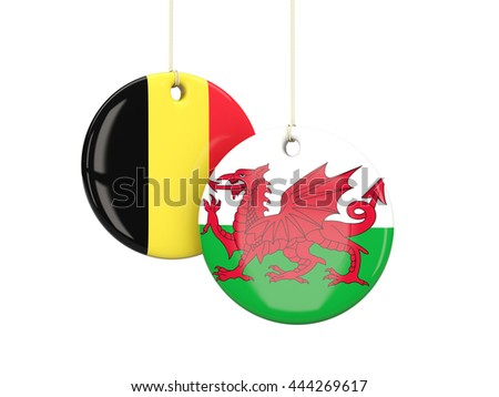 Wales and Belgium soccer teams round labels. 3D illustration - stock photo