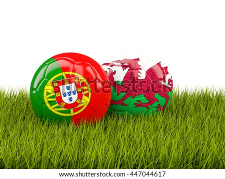 Wales and Portugal soccer  balls on grass. 3D illustration - stock photo