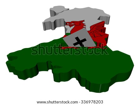 Wales election map with ballot paper illustration - stock photo