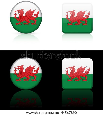 Wales Flag Buttons on White and Black Background Original Vector Illustration AI8 Compatible - stock photo