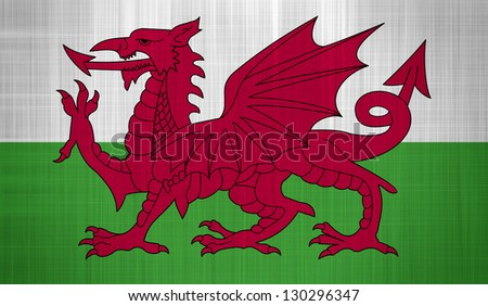 Wales Flag with a fabric texture - stock photo