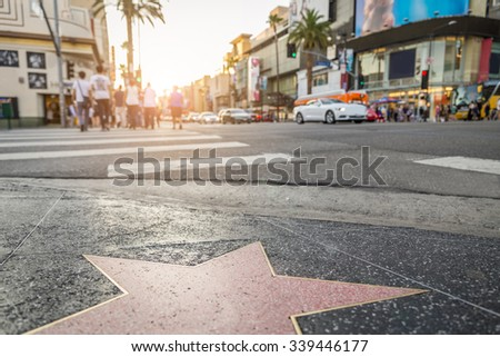 Walk of Fame at sunset on Hollywood Boulevard - stock photo