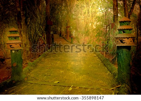 walk side in public park ,image in dramatic tone - stock photo