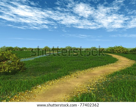 walk through the fields - stock photo