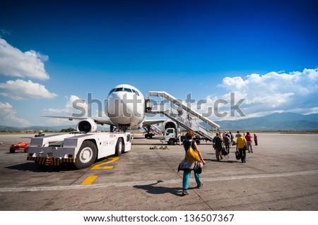 Walk to plane - stock photo