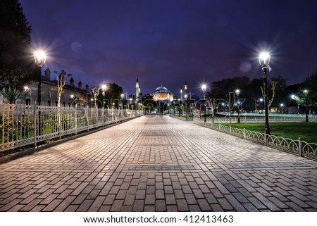 Walk to the Sultan Ahmed Mosque. Istanbul. Turkey. - stock photo