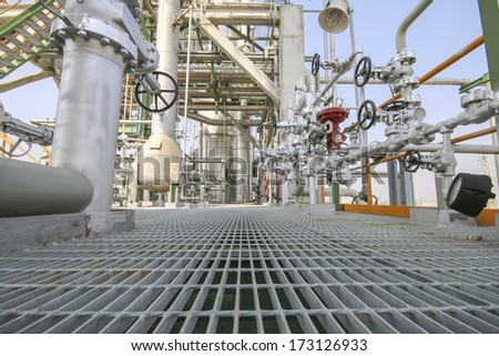 Walk way in Industrial plant  - stock photo