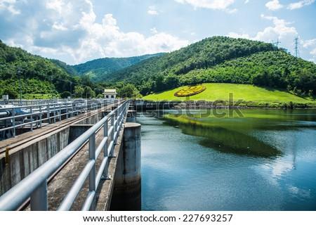 Walk Way on Water Gate at Mae Ping Ton Lang Dam, Thailand. - stock photo