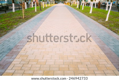 Walk Way Surface Of Colorful Concrete Blocks - stock photo
