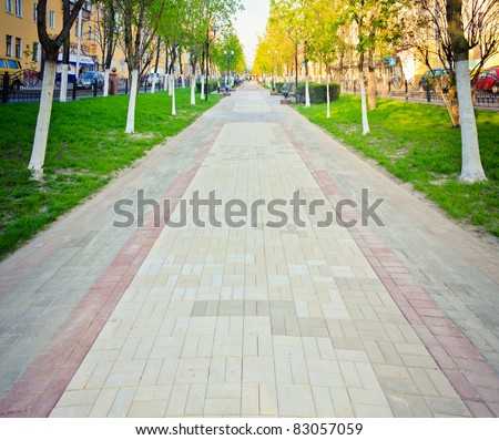 walk way surface of concrete blocks - stock photo