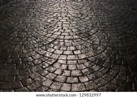 walk way surface of concrete blocks, background - stock photo