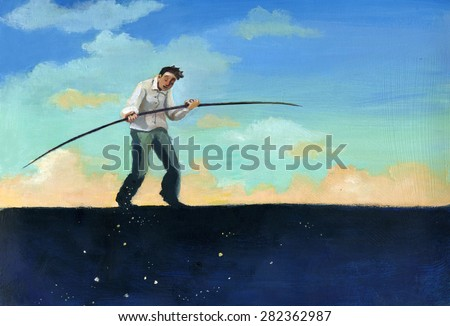 walking a tightrope between the day and night - stock photo