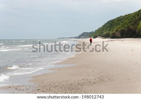Walking alone along seashore - stock photo
