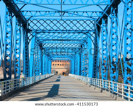 Walking bridge at Grand Rapids, Michigan - stock photo