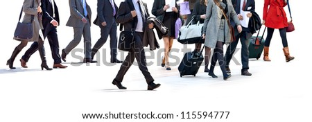 Walking businessman. A group of business people on a light background. Urban scene. - stock photo
