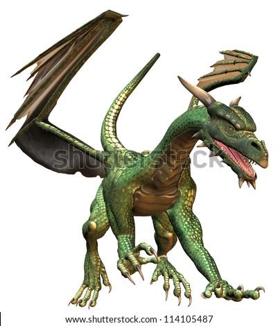 Walking Green Fantasy Dragon - stock photo