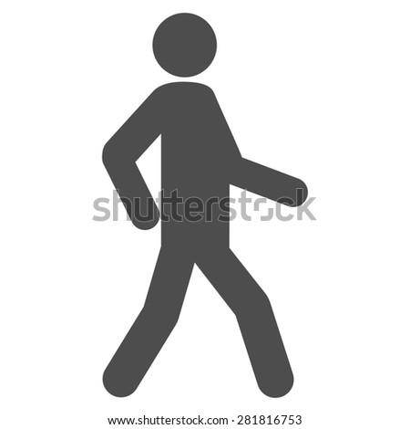 Walking icon from Man Poses Set. Style: monochrome gray icons, rounded corners, white background. - stock photo