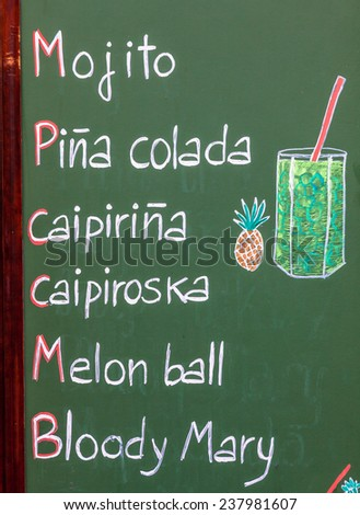 Walking in Barcelona - Spain - you can find this common menu purpose showed outside bars and restaurants. - stock photo