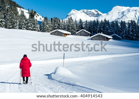 Walking in the Winter Snow, Lech Landscape, Austria - stock photo