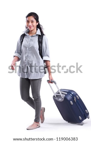Walking lady with a bag and luggage.Isolated in white background. - stock photo