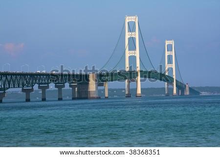 Walking Mackinac Bridge - Michigan, USA. Bridge open for walkers -  Labor Day. - stock photo