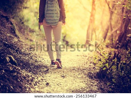 Walking or running legs on trail, adventure and exercising in forest at sunset. Toned picture - stock photo