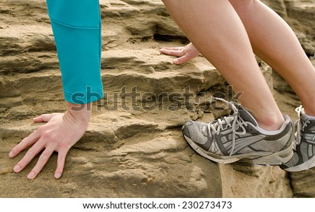 Walking or running legs sport shoes - stock photo