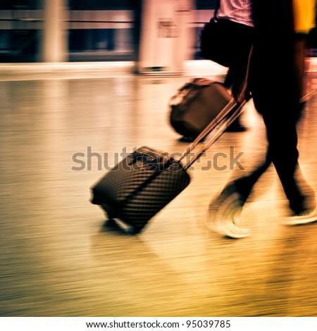 walking  passenger in airport blur motion - stock photo