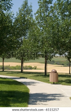 Walking path at rest area found along an interstate highway in the USA - stock photo