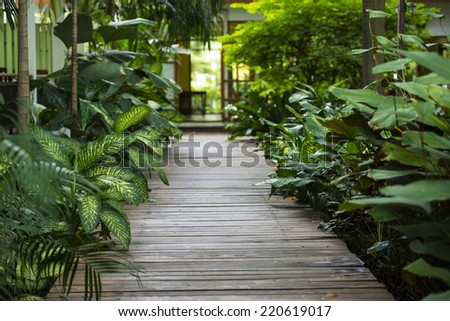 Walking path in the garden - stock photo