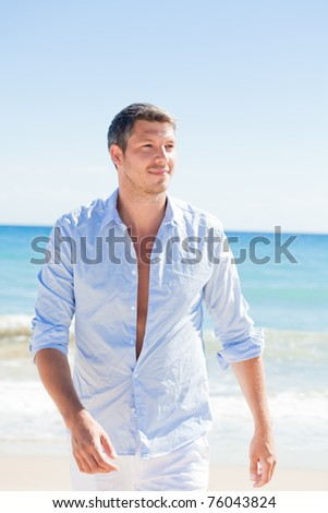 walking peaceful attractive male - stock photo