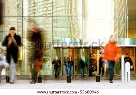 walking people rushing on the street in intentional motion blur-3 - stock photo