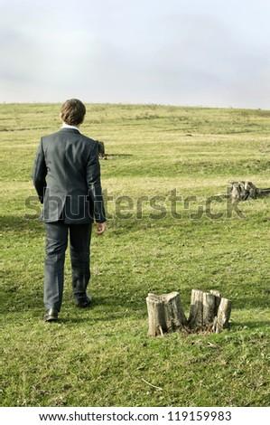 walking person somewhere - stock photo