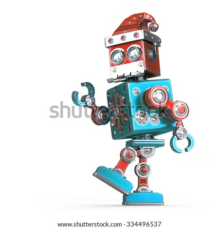 Walking robot santa. Isolated over white. Contains clipping path - stock photo