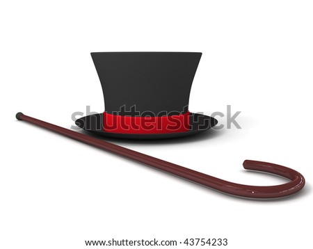 walking stick and a hat - stock photo