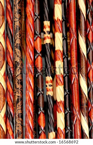 Walking sticks as a background - stock photo