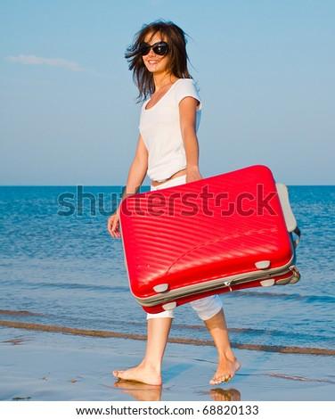 Walking Suitcase Travel - stock photo