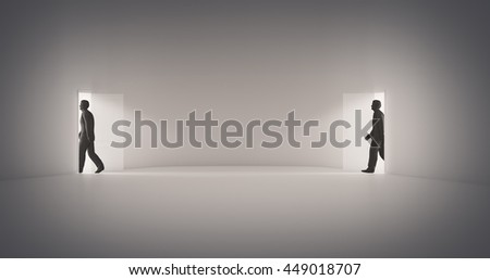 Walking through a portal - 3d illustration - stock photo