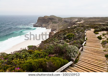 Walking trail along the coast of cape of good hope - stock photo