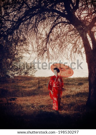 Walking woman with umbrella � asian style portrait - stock photo
