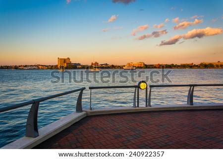 Walkway along the waterfront at Battery Wharf, in Boston, Massachusetts. - stock photo